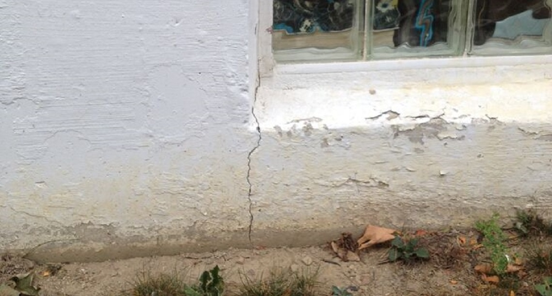 Exterior wall crack on house foundation