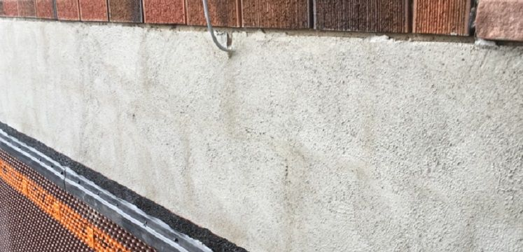 foundation wall with parging